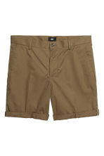 Cotton shorts Slim fit - Khaki green - Men | H&M CN 2