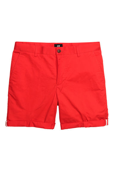 Cotton shorts Slim fit - Red - Men | H&M CN 1