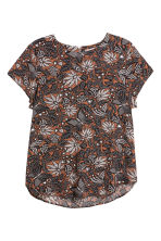 H&M+ Short-sleeved blouse - Brown/Patterned - Ladies | H&M CN 1