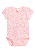 Bodysuit with puff sleeves - Light pink/Spotted - Kids | H&M CN 1