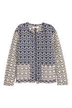 Jacquard-weave jacket - Black/White/Patterned - Ladies | H&M CN 2