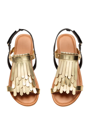 Sandals with fringe trims - Gold -  | H&M GB
