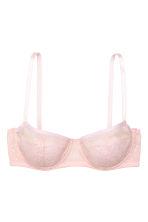 Mesh and lace balconette bra - Light pink - Ladies | H&M 3
