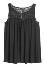 H&M+ Top with a lace yoke - Black - Ladies | H&M CN 2
