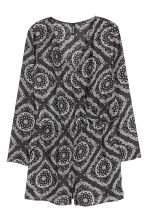 V-neck playsuit - Black/White/Patterned - Ladies | H&M CN 2