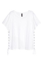 Jersey top with lacing - White - Ladies | H&M CN 2