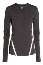 Long-sleeved running top - Black marl - Ladies | H&M CN 2
