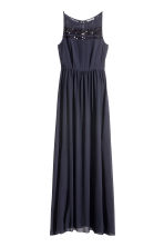 Chiffon dress with lace - Dark blue - Ladies | H&M CN 2