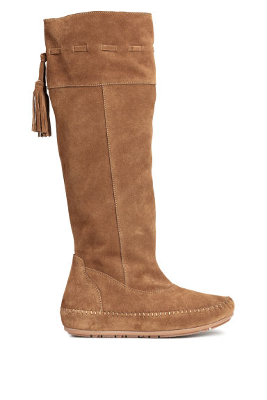 Knee-high suede boots - Dark beige - Ladies | H&M CN 1