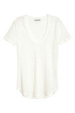 Linen jersey top - Natural white - Ladies | H&M CN 4