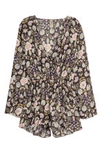 Patterned playsuit - Dark grey/Floral - Ladies | H&M GB 2