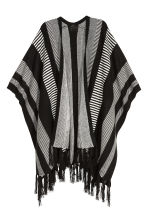 Jacquard-knit poncho - Black/White/Patterned - Ladies | H&M CN 1