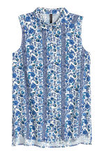 Sleeveless viscose blouse - White/Blue pattern - Ladies | H&M CN 1