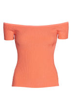 Off-the-shoulder top - Coral - Ladies | H&M CN 2