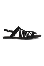 Suede sandals with fringes - Black - Ladies | H&M CN 2