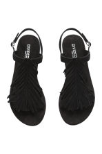 Suede sandals with fringes - Black - Ladies | H&M CN 3
