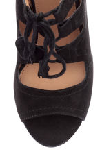 Suede sandals with lacing - Black - Ladies | H&M CN 3
