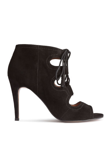 Suede sandals with lacing - Black -  | H&M CN