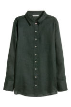 Linen shirt - Black - Ladies | H&M CN 1