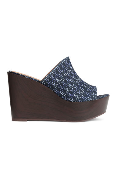 Wedge-heel platform mules - Dark blue/Patterned - Ladies | H&M CN 1