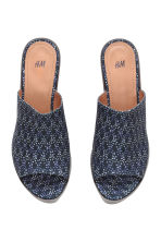 Wedge-heel platform mules - Dark blue/Patterned - Ladies | H&M CN 2
