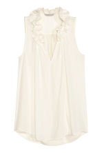 Top with a frilled collar - Natural white - Ladies | H&M CN 2