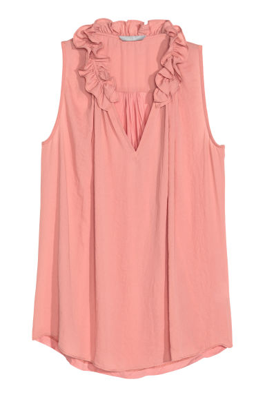 Top with a frilled collar - Powder pink - Ladies | H&M CN 1