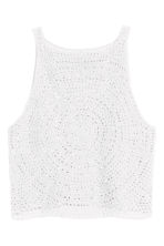 Crocheted crop top - White - Ladies | H&M CN 2