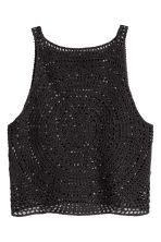 Crocheted crop top - Black - Ladies | H&M CN 1