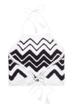 Crocheted crop top - Black/White - Ladies | H&M GB 3