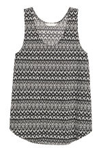 Patterned jersey vest top - Black/White - Ladies | H&M CN 2