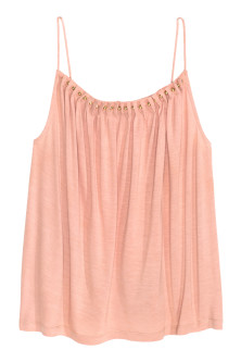 Jersey strappy top with beads