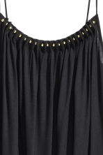 Jersey strappy top with beads - Black - Ladies | H&M CN 3