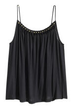 Jersey strappy top with beads - Black - Ladies | H&M CN 2