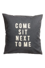 Text print cushion cover - Anthracite grey - Home All | H&M GB 1