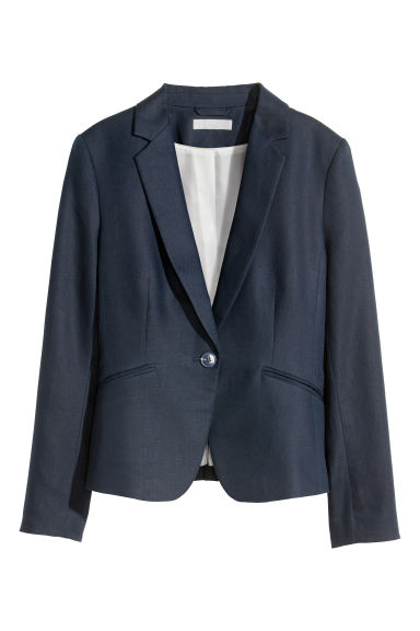 Jacket in a linen blend - Dark blue -  | H&M CN 1