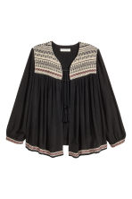 Crinkled blouse jacket - Black - Ladies | H&M CN 2
