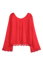 Blouse with lace trim - Red - Ladies | H&M GB 2