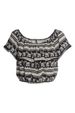 Off-the-shoulder blouse - Black/Elephants - Ladies | H&M CN 1