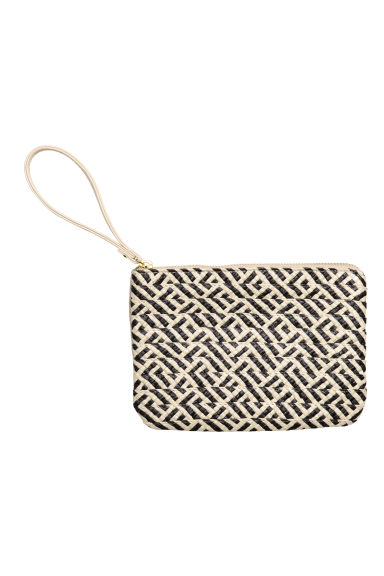 Paper straw pouch purse - Natural white/Patterned - Ladies | H&M CN 1