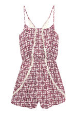 Playsuit with lace - Burgundy/Natural white - Ladies | H&M CN 2