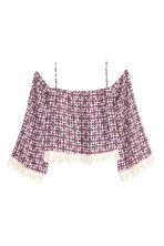 Off-the-shoulder blouse - Burgundy/Natural white - Ladies | H&M CN 2