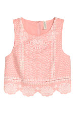 Embroidered top - Pink - Ladies | H&M CN 2