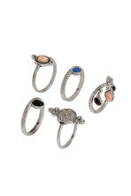 5-pack rings - Silver - Ladies | H&M CN 1