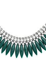 Short necklace - Silver/Dark green - Ladies | H&M CN 2