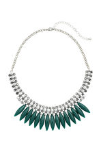 Short necklace - Silver/Dark green - Ladies | H&M CN 1