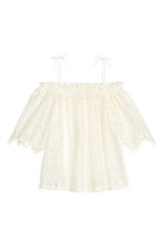 Lace off-the-shoulder blouse - White - Ladies | H&M CN 2