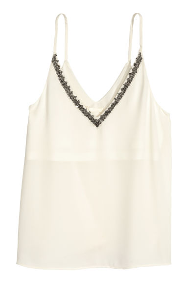 Beaded strappy top - Natural white - Ladies | H&M CN 1