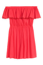 Cotton off-the-shoulder dress - Coral red - Ladies | H&M GB 2