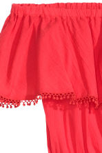 Cotton off-the-shoulder dress - Coral red - Ladies | H&M GB 3